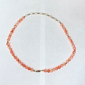 EUC Freshwater Pearls on Coral-Coloured Necklace